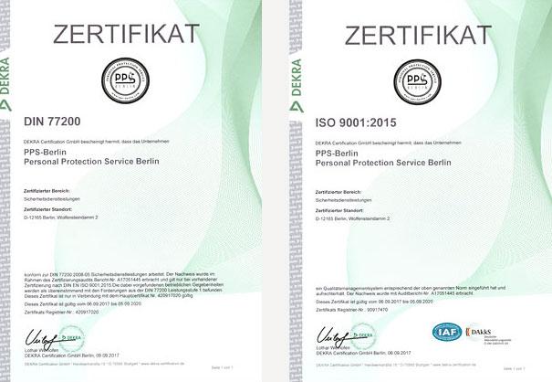 DEKRA-Zertifikate der PPS - Personal Protection Service Berlin - zum Anzeigen der PDF-Dateien hier klicken